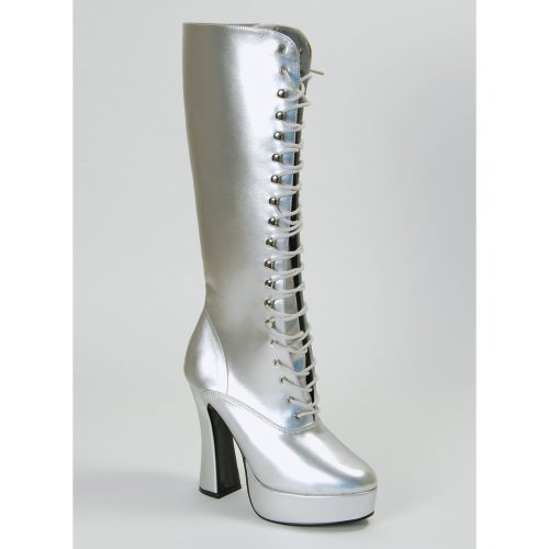 Small Silver Ladies Platform Boots - Fancy Dress Sexy 70s Lace Uk Size 34 -  fancy dress ladies sexy 70s lace silver boots uk size 34