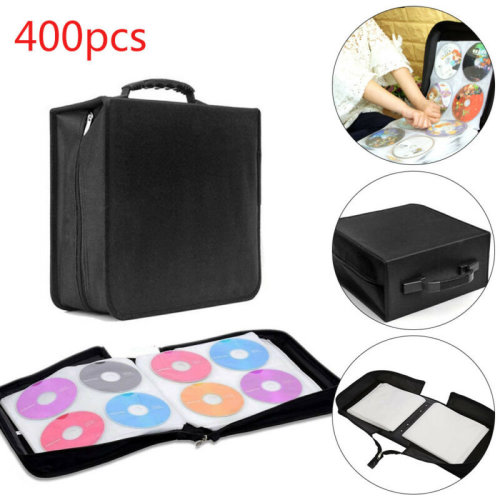 400 Sleeve CD DVD Blu Ray Disc Carry Case Holder Bag Wallet Protector Storage
