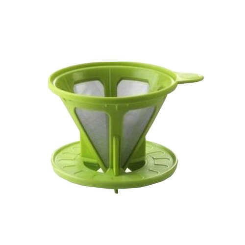 Durable Taper Shape Coffee Filter Cup Reusable Stainless Steel Mesh 3.8'' Green