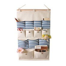 13-Pockets Zakka Wall Door Hanging Storage Bag Case Magazine Organizer, A