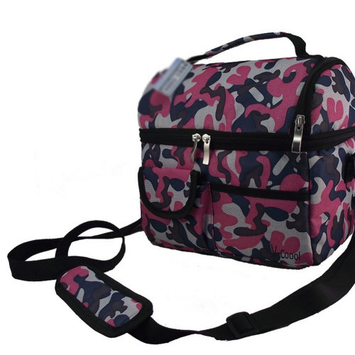 Pink Camouflage Infant Bottle Tote Bag Baby Keep Milk Fresh Bag Double-Deck