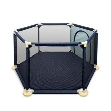 Baby Playpen BIGWING Style Foldable Baby Kids Play pens 6 Panel Kids Activity Center Room Fitted Floor Mats-66.5 x 148 cm-Blue