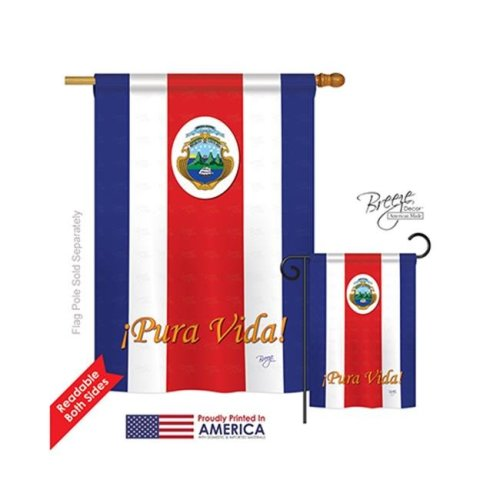 Breeze Decor 08158 Costa Rica 2-Sided Vertical Impression House Flag - 28 x 40 in.