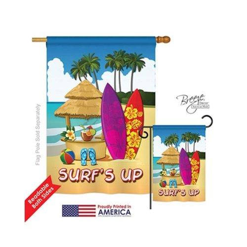 Breeze Decor 06070 Summer Surfs Up Hut 2-Sided Vertical Impression House Flag - 28 x 40 in.