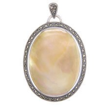 Childrens Sterling Silver Large Marcasite Yellow Shell Oval Locket On A Curb Necklace