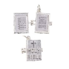 925 Sterling Silver Bible Charm - Lords Prayer - Commandments.