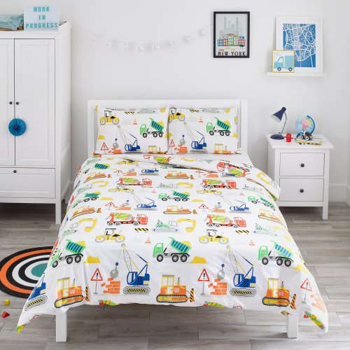 Bloomsbury Mill Construction Vehicles - Trucks, Diggers & Cranes - Kids Bedding Set - Double Duvet Cover and 2 Pillowcases