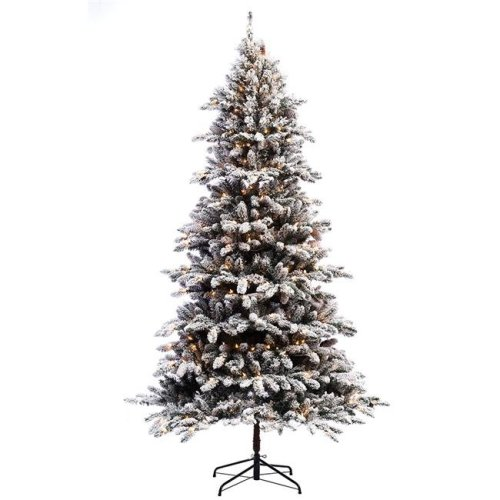 Flocked Pre Lit Christmas Tree.Puleo International 7 Ft Pre Lit Flocked Bennington Fir Artificial Christmas Tree With 400 Clear Lights