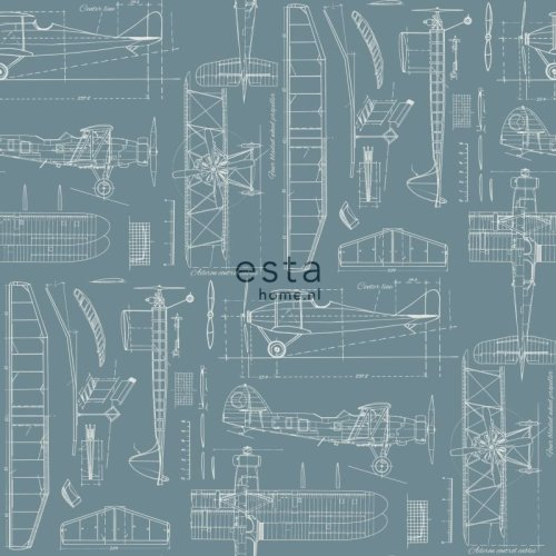 chalk printed non woven wallpaper construction drawings of airplanes dark vintage blue