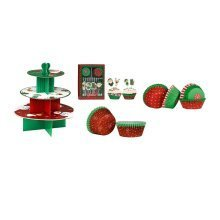 Christmas Cupcake Cases, Toppers & Cake Stand
