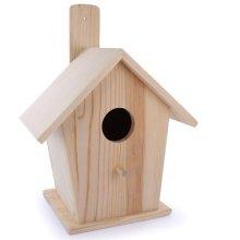 Large Pinewood Wooden Birdhouse To Decorate - 18cm x 12.5cm x 23.5cm