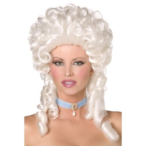 White Shoulder Length Baroque Wig With Ringlet Curls. -  wig baroque white fancy dress antoinette ladies smiffys marie costume