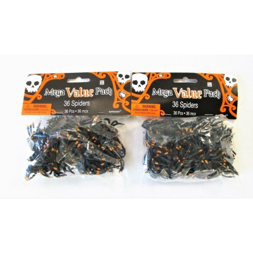 Pack of 72 Plastic Spiders Halloween Party Decorations - Spider Favours