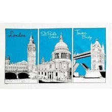 London Sketch Tea Towel Souvenir Gift Big Ben Tower Bridge St Pauls Blue White
