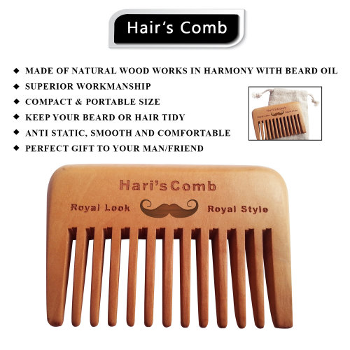 Wide toothed Hari's Hair & Beard pocket Comb natural wood