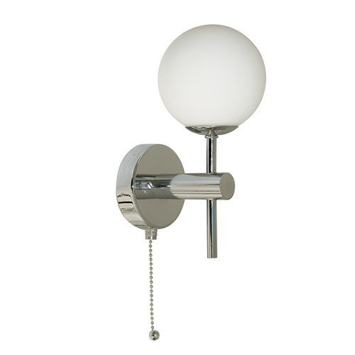 Bathroom Light Globe Chrome Wall Light With Opal Glass Shade