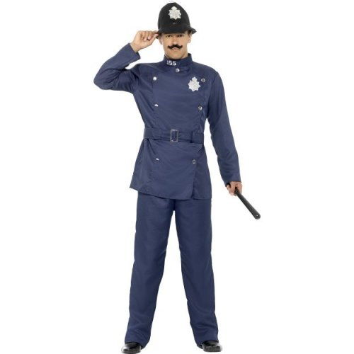 Blue London Bobby Costume -  mens london bobby costume fancy dress policeman uniform adult old fashioned officer adults