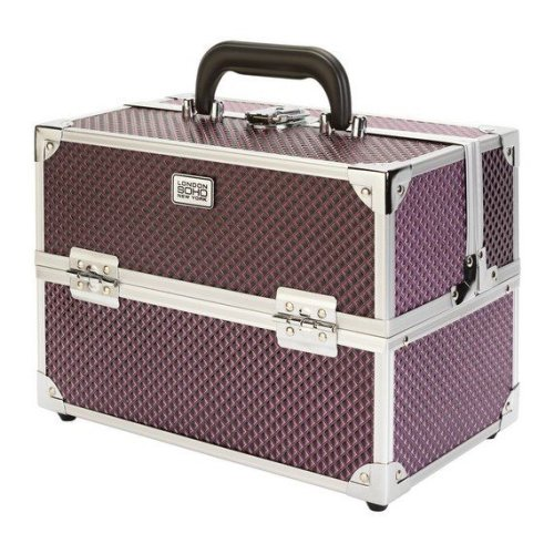 Soho 0317 Purple Diamond Hard Vanity Case With internal Compartments And Drawer