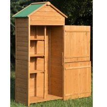 Outsunny 90 X 50cm 4-tier Wooden Garden Shed Lockable Double Doors