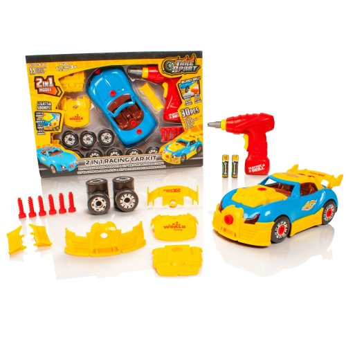 Take Apart 2 in 1 Racing Car - Lights & Sounds Toy Construction Kit - Batteries Included