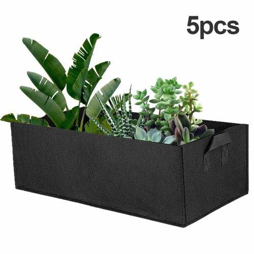 5Pcs Garden Grow Bags, Grow Bags Rectangle Plant Non-woven Fabric Plant Pots Aeration Quality Planter Bags Container (60 * 30 * 20cm)