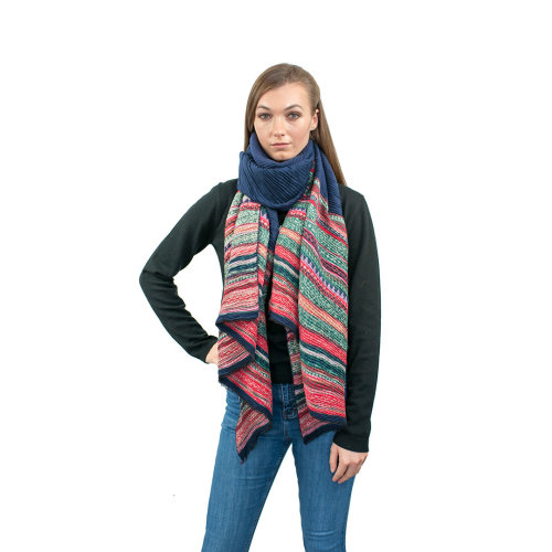 (Navy) Miss Lulu Women's Stripe Scarf | Striped Shawl
