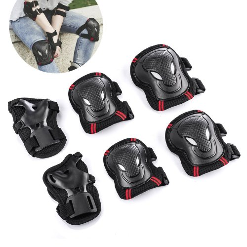 Overmont Skateboard Roller Blading Elbow Knee Wrist Protective Safety Gear Pad Guard 6pcs Set