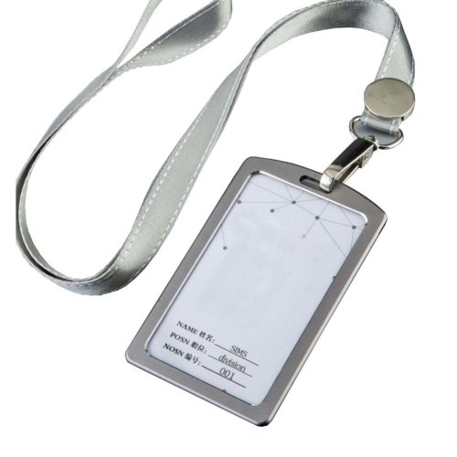 Aluminum Alloy Vertical Style ID Card Badge Holder with Neck Lanyard Strap 3PCS, 07