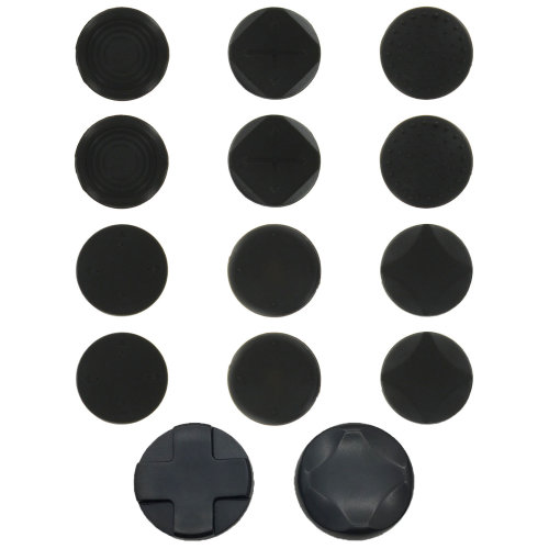 Silicone thumb grips & D-pad rockers for Sony PS Vita 1000 & 2000 Slim - 14 in 1 pack black - ZedLabz