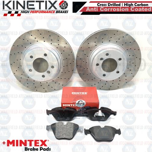 FOR BMW 335d E90 FRONT DRILLED KINETIX PERFORMANCE BRAKE DISCS MINTEX PADS 348mm