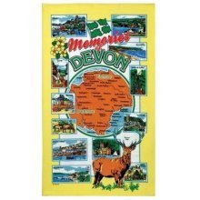 Memories of Devon Tea Towel Souvenir Gift Map Dartmouth Castle Dartmoor Plymouth