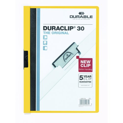 Durable Duraclip 2200/04 Clip File for 1-30 Sheets A4 - Yellow