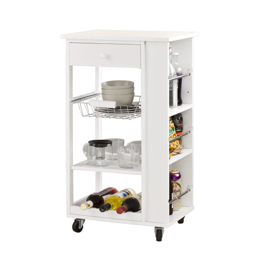 SoBuy® FKW12-W, Kitchen Storage Serving Trolley with 3 Side Shelves