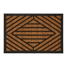 Geometric Lined Doormat, Brown