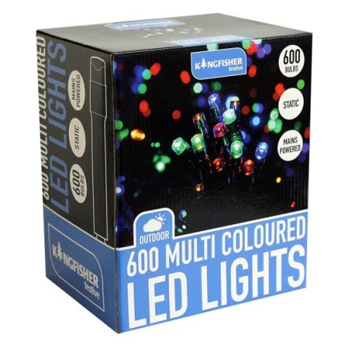 600 LED Multi Coloured Static Chistmas Xmas Decoration Indoor or Outdoor Lights
