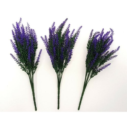 Set of 3 Artificial Purple & Green Astilbe Bushes - 35cm - Faux Flowers & Plants