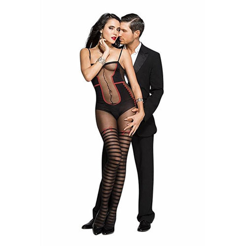 Bodystocking with body and striped stockings look - Black/Red  Ladies Lingerie Cat suits - Music Legs