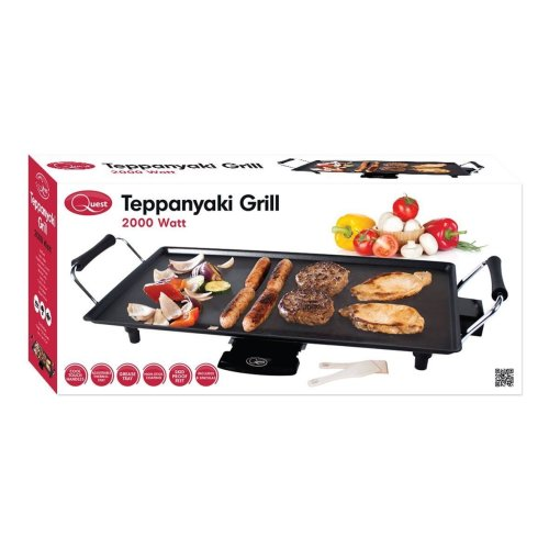 Electric Teppanyaki Table Top Grill Griddle BBQ Barbecue with 8 Free Spatulas 2000W