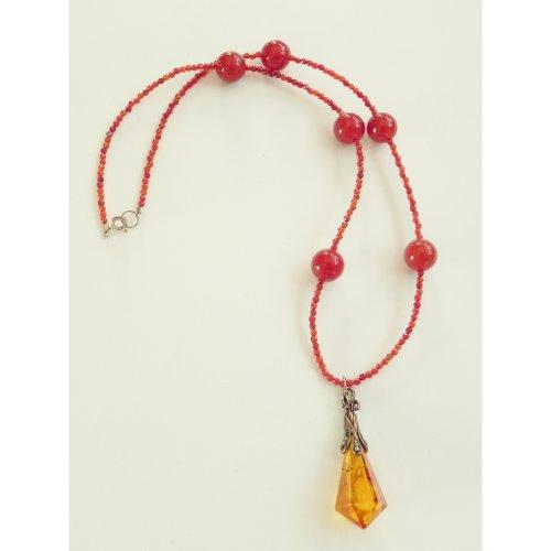 Handmade carnelian and amber gemstone necklace,