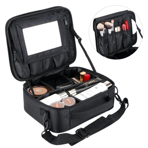b59431b9f501 Portable Large Makeup Bag for Women Make Up Bags Organiser Case  Professhional Cosmetic Bag with Removable Mirror & Adjustable Dividers