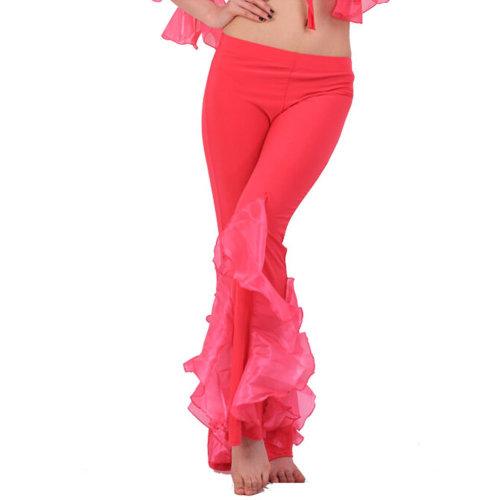 Rose Pink Belly Dance Elastic Lotus Leaf Pants Belly dance costume