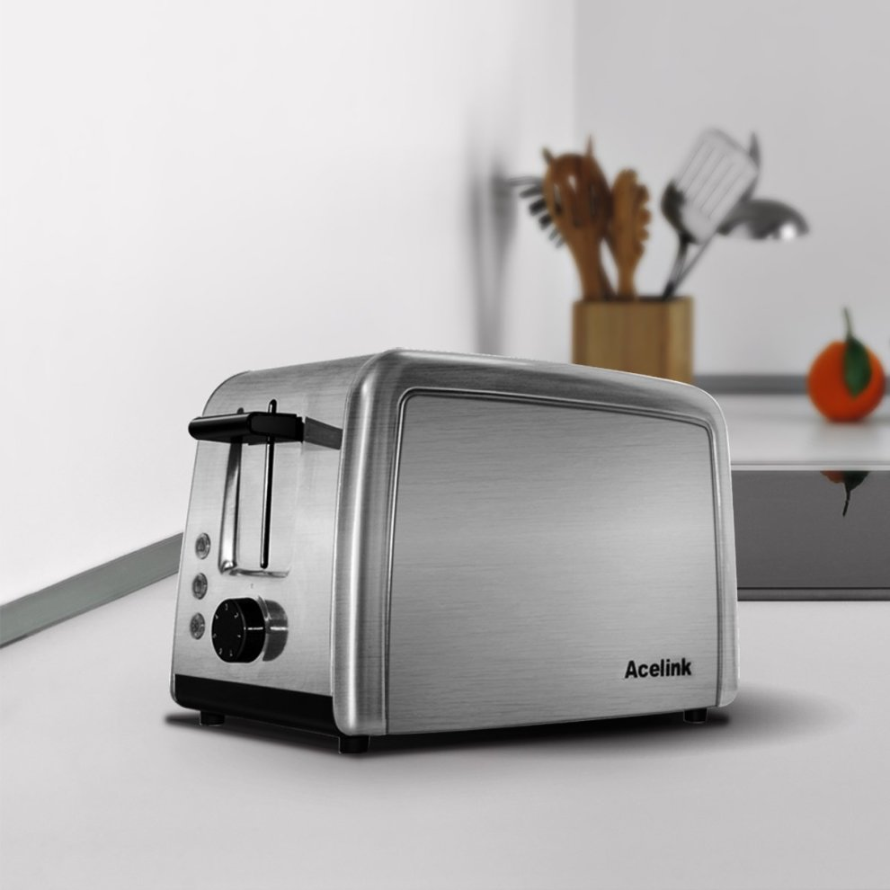 Acelink 2 Slice Toaster Smooth Brushed Stainless Steel With Cancel Reheat Defrost Functions Crumb Tray Warming Rack 7 Toasting
