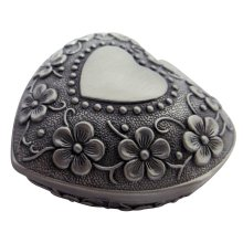 Antique Pewter Plated Metal Heart Trinket Jewellery Box with Floral Decoration by Happy Homewares