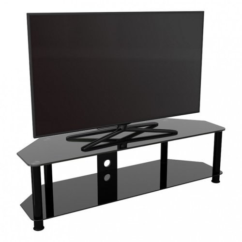 """King Glass TV Stand 140cm, Black Legs, Black Glass, Cable Management, for TVs up to 65"""""""