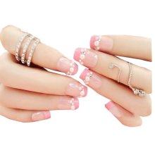 Set of 24 Lovely Venetian Beads Style Makeup Set DIY 3D Design False Nails, Pink