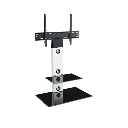 """King Cantilever TV Stand with Brackets, White, Rectangle Base, TVs up to 60"""""""