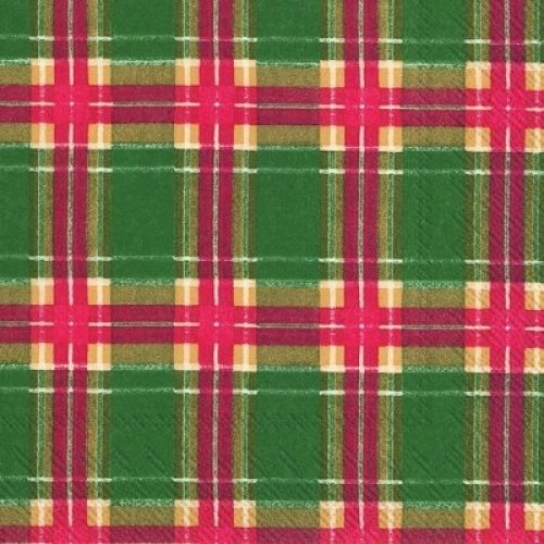 Flannel Check - GREEN / Red /Gold TARTAN Design - 3 Ply Paper Cocktail Napkins - Pack of 20 - 25cm square unfolded