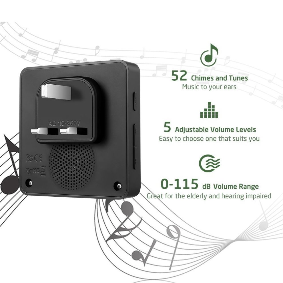 Wireless Doorbell Kit, Door Bells with 2 Push Buttons Have Different Tones,  AVANTEK Door Chime Waterproof DB-21 Operating at Over 1300 Feet, LED