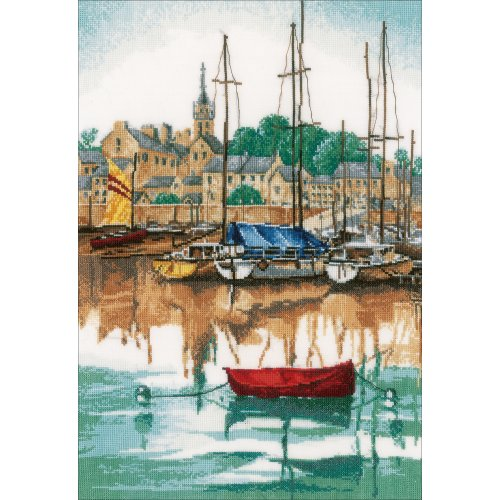 """LanArte Counted Cross Stitch Kit 12.4""""X17.2""""-Sunrise At Yacht Harbor (30 Count)"""