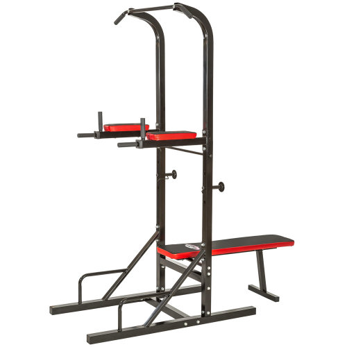 Power tower with pull up bar and weight bench